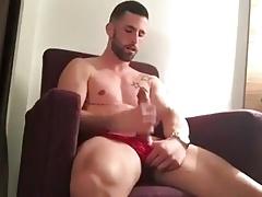 Big cock, hot body, red panties