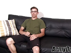 Lean glasses wearing stud Bud gently stroking his dong