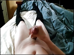 Femboy faps and cums in bed