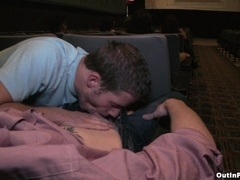 Nasty homo gets his ass pounded by tattooed guy at a cinema