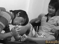 Gay asian gets facial