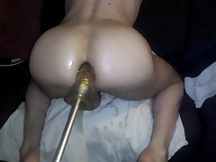 training my tiny sissy ass with my huge dildo