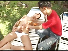 Latin Twinks Bareback Fucking Threesome