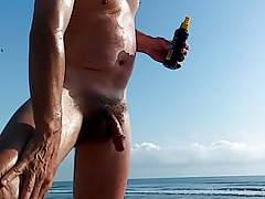 nude at the beach.