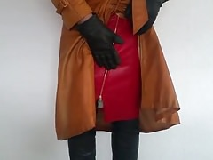 red leather skirt and brown leather coat