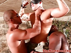 Interracial threesome cocksucking and fucking