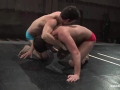Slutty gay Derrek Diamond fights on a ring and gets his ass drilled