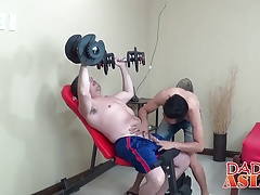 After hard training Daddy Mike bangs gym buddys tight ass
