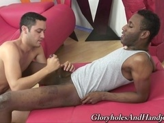 Interracial handjob action with hot gays JD Daniels and Orion Cross