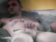 Straight tatooed skinhead smoking playing with his cock on cam