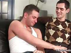 Attractive twink Brad Rioux blows stiff gay rod and gets banged