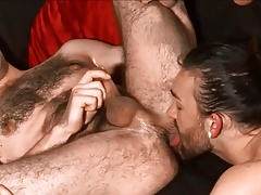 Dark-haired lads engulfing and fucking