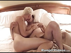 Handsome blonde stud destroys his cock hungry lover in bed