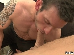 Tattooed homo Marek gives head and has bareback doggy style sex