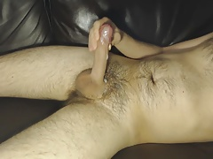 Working my cock, cumshot, playing with my dick