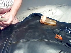 Cum on vintage leather biker jacket wearing two dirty thongs