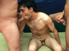 Brunette queer rides two hard shafts after sucking them