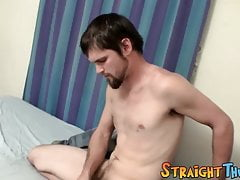 Handsome straight dude tugs his giant hairy cock solo