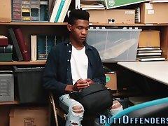 Ebony teen thief jizzed