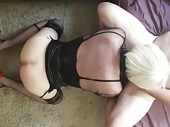 Me suckig and gagging on cock