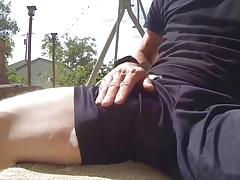 Rubbing under shorts untill he cums