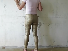 Fag in shiny tight pants