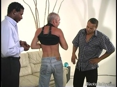 Gay daddy gets his ass smashed by two horny black studs