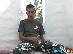 Naughty young army cadet rides majors raw cock outdoors