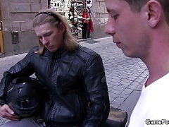 Riding his meat till gay cum inside