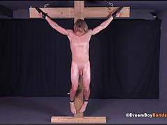 Uncut Muscle Stud Crucifixion Cross BDSM Gay Bondage Hung