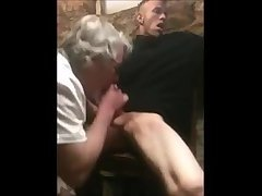Straight boy watches porn while old dude sucks his dick