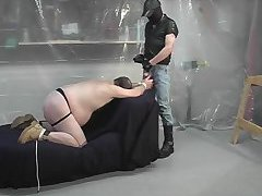 Spanked fat man fucked from behind