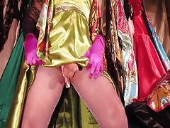 Satin sissy cums on her purple pantyhose