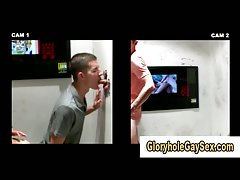 Babe lures straight guy into glory hole