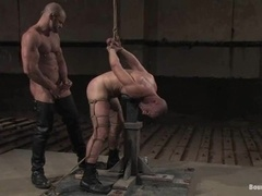 A poof gets his mouth and ass fucked in amazing BDSM scene
