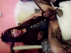 China TS xiaoai in body stocking and  heels