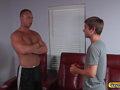 Dustin receives a hot blowjob by Johnny and his big dick