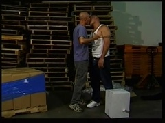 Bulky gay gets his hot ass smashed by some bald nerd