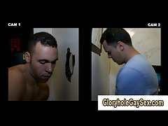 Gay gets facial through glory hole