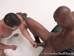 Handsome gay Mike James enjoys massaging his buddy's BBC