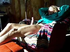Relaxing with a huge boner