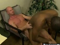 Submissive black bottom sitting on a muscle hunks purple pole