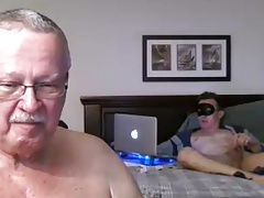 grandpa and younger on webcam