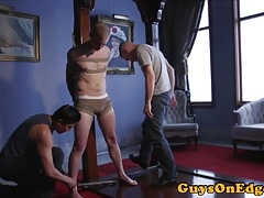 Edging sub tied up and jerked until cumshot