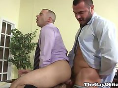 Suit and tie office hunks fuck each others tight butts