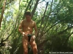 Horny Twink Jerking Off in the Woods
