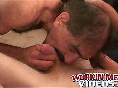 Sexy older guys jerking off and enjoying a wet fellatio