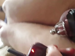 Cock shocked in chastity