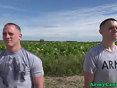 Gay army recruit drilled in ass outdoors