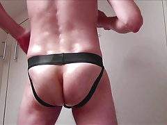 Jockstrap Jerkoff and Messy Mesh Cum
